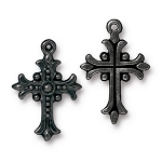 TierraCast Fleur Cross Pendant, Black-Plated Lead-Free Pewter
